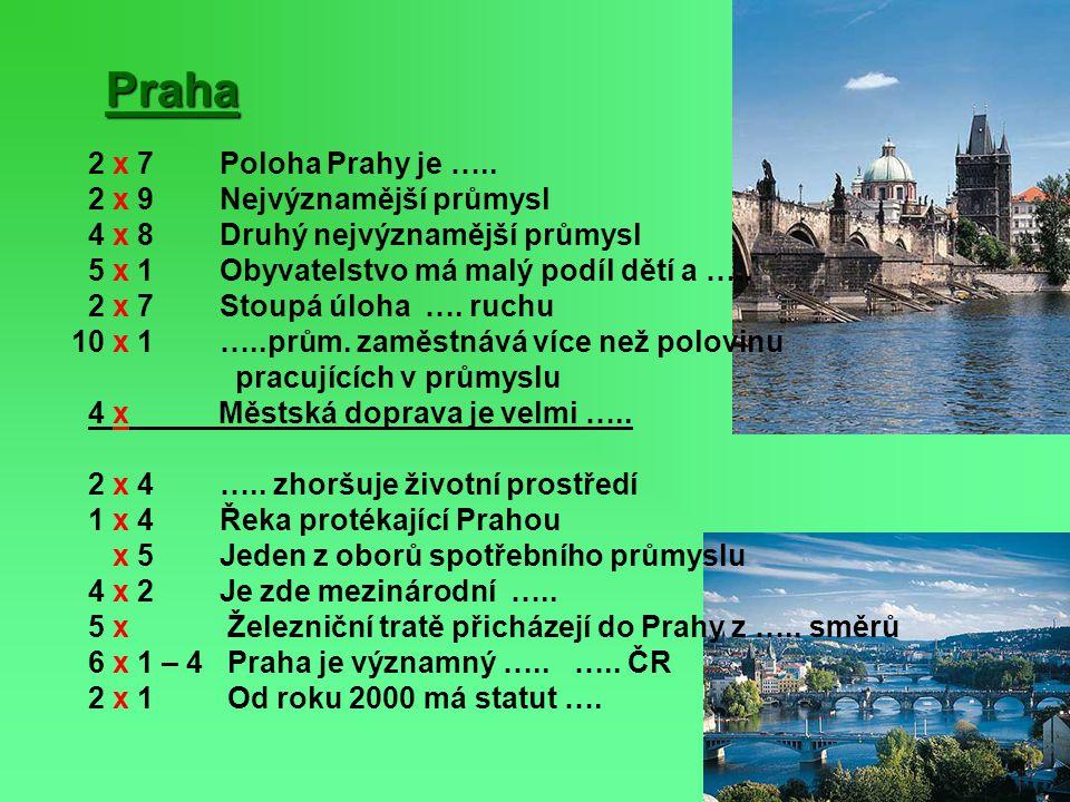 Praha 2 x 7 Poloha Prahy je ….. 2 x 9 Nejvýznamější průmysl