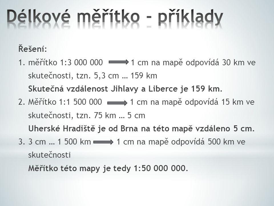 Délkové měřítko - příklady