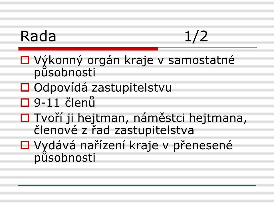Rada 1/2 Výkonný orgán kraje v samostatné působnosti