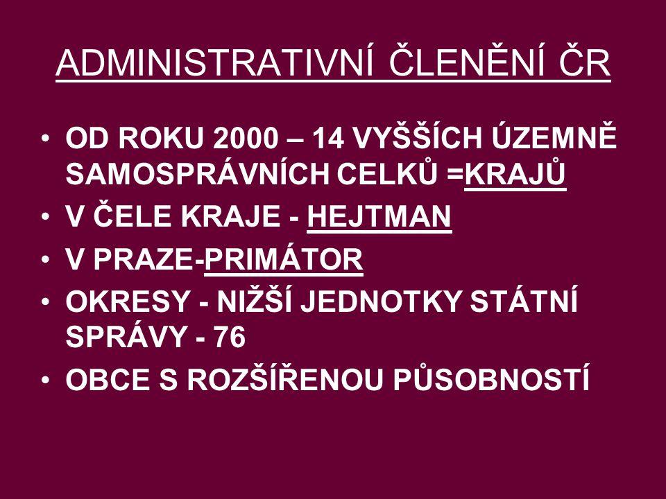 ADMINISTRATIVNÍ ČLENĚNÍ ČR