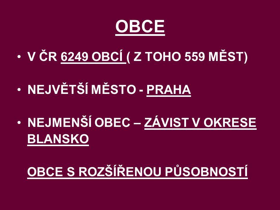 OBCE V ČR 6249 OBCÍ ( Z TOHO 559 MĚST) NEJVĚTŠÍ MĚSTO - PRAHA