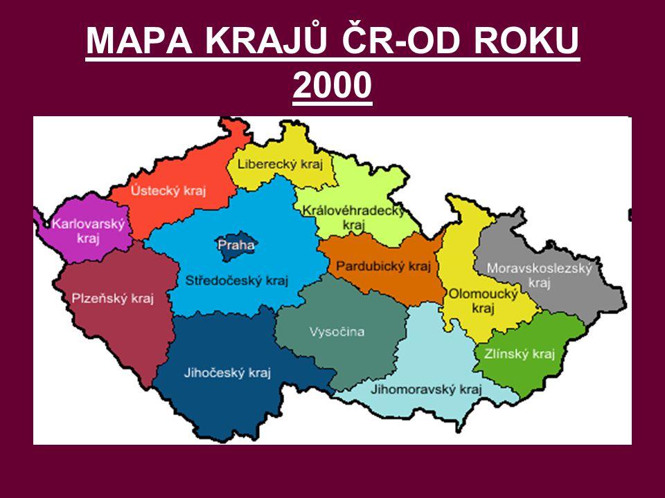 MAPA KRAJŮ ČR-OD ROKU 2000