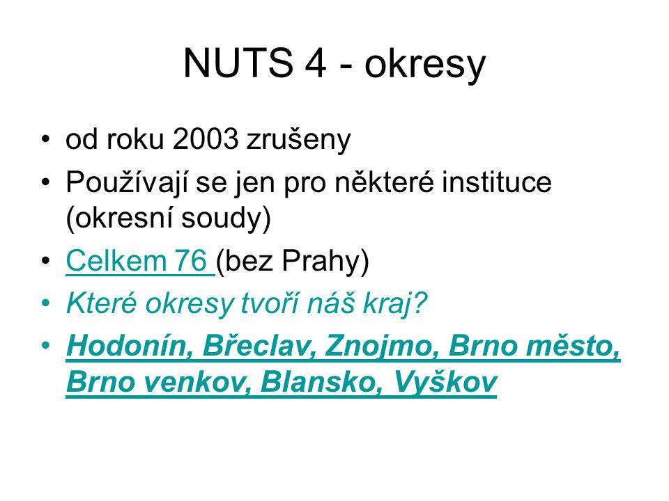 NUTS 4 - okresy od roku 2003 zrušeny