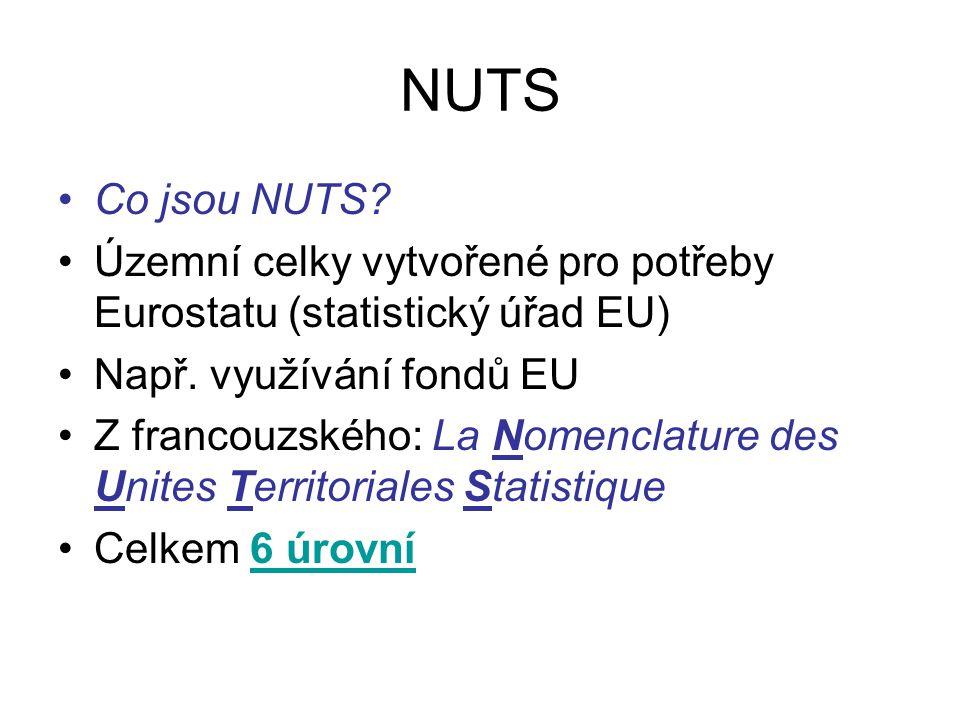 NUTS Co jsou NUTS Územní celky vytvořené pro potřeby Eurostatu (statistický úřad EU) Např. využívání fondů EU.