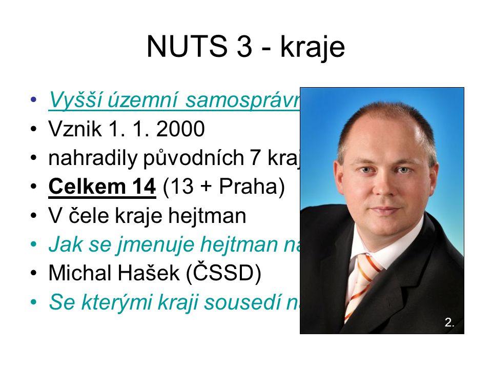 NUTS 3 - kraje Vyšší územní samosprávní celky (VÚSC) Vznik 1. 1. 2000