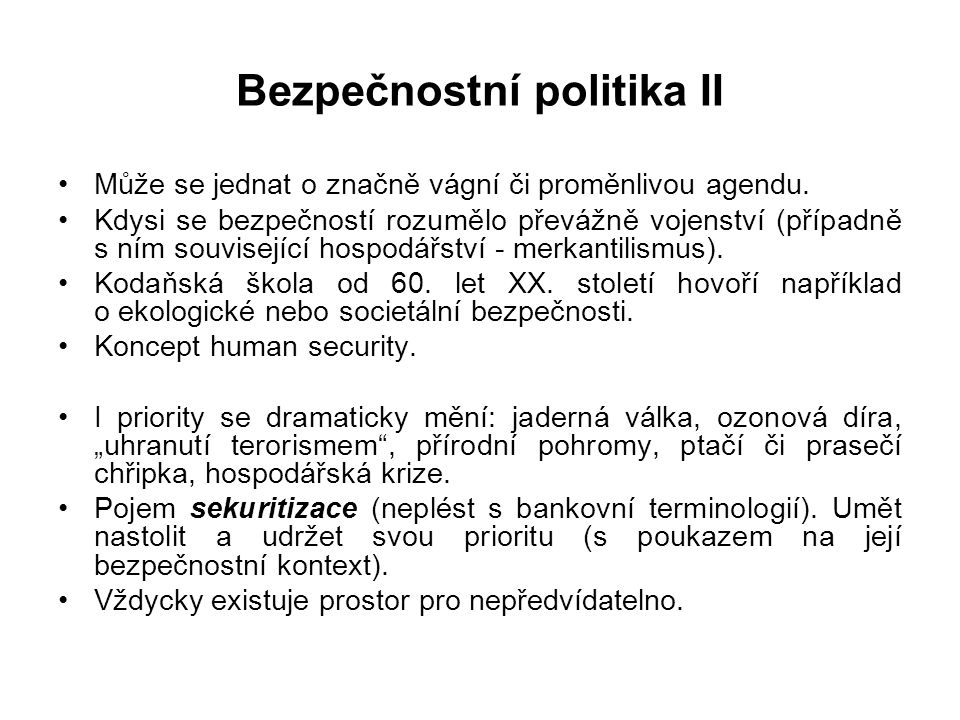 Bezpečnostní politika II