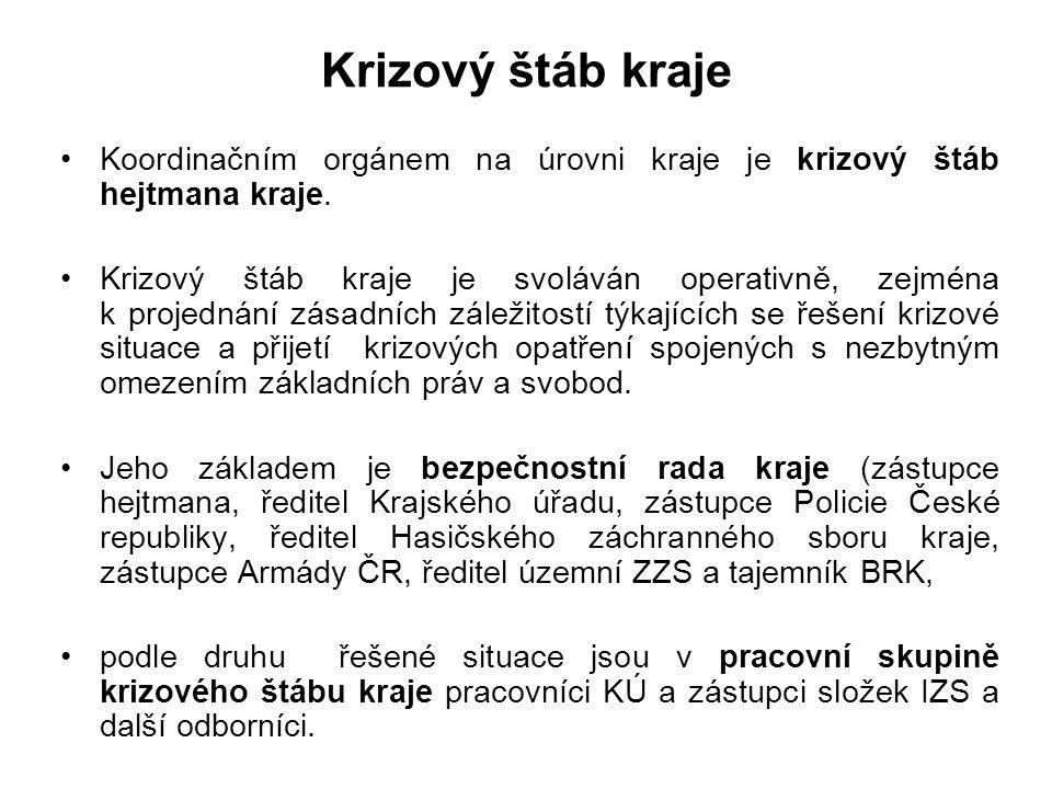 Krizový štáb kraje Koordinačním orgánem na úrovni kraje je krizový štáb hejtmana kraje.