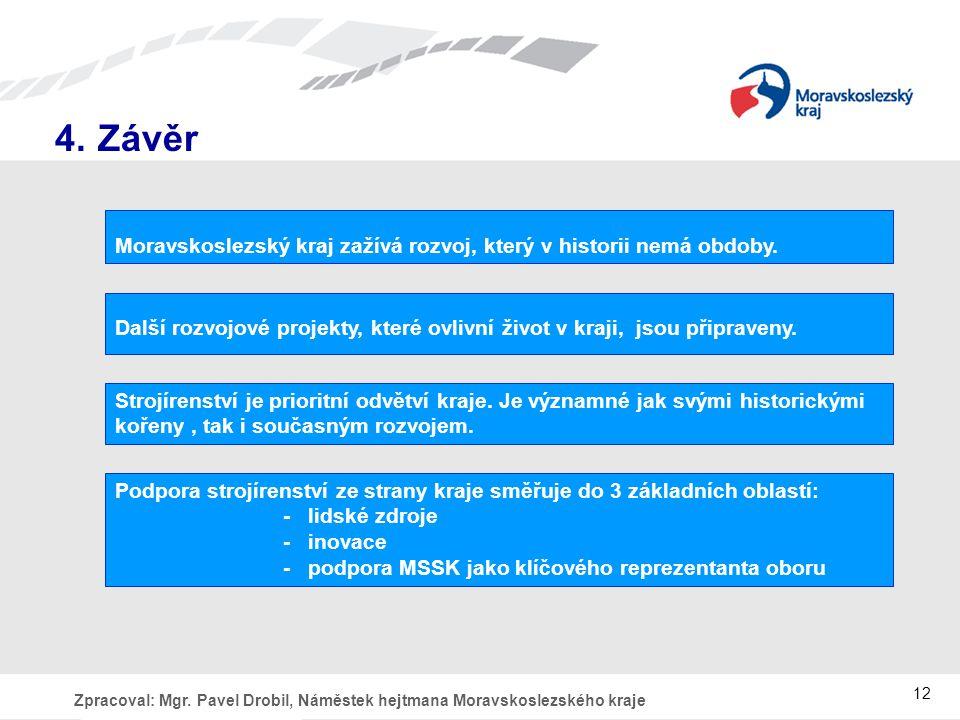 4. Závěr Moravskoslezský kraj zažívá rozvoj, který v historii nemá obdoby. Další rozvojové projekty, které ovlivní život v kraji, jsou připraveny.