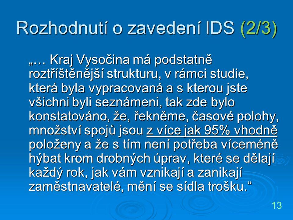 Rozhodnutí o zavedení IDS (2/3)