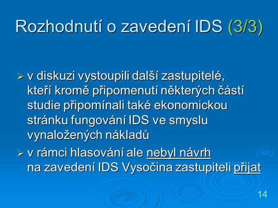 Rozhodnutí o zavedení IDS (3/3)