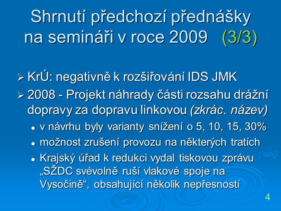 Shrnutí předchozí přednášky na semináři v roce 2009 (3/3)