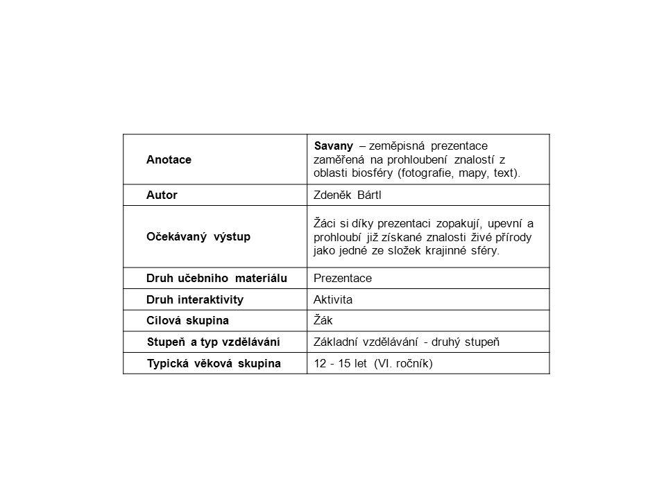 Anotace Savany – zeměpisná prezentace zaměřená na prohloubení znalostí z oblasti biosféry (fotografie, mapy, text).