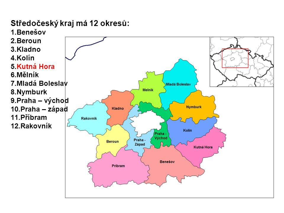 Středočeský kraj má 12 okresů: