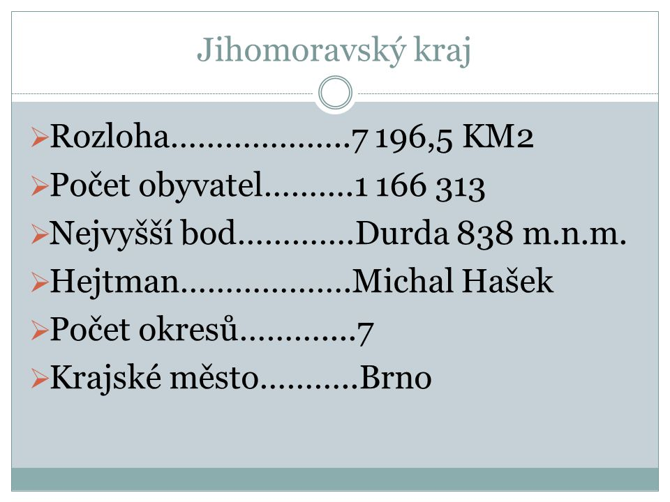 Jihomoravský kraj Rozloha………………..7 196,5 KM2. Počet obyvatel……….1 166 313. Nejvyšší bod………….Durda 838 m.n.m.