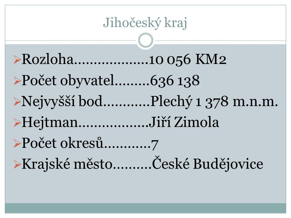 Nejvyšší bod…………Plechý 1 378 m.n.m. Hejtman……………...Jiří Zimola