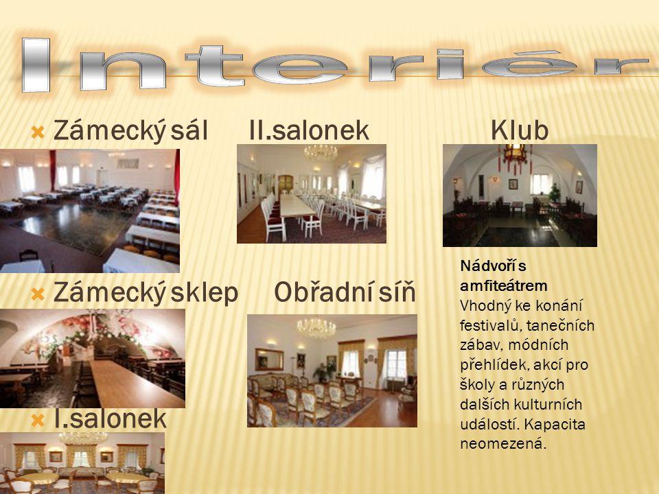 Interiér Zámecký sál II.salonek Klub Zámecký sklep Obřadní síň