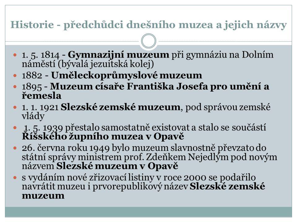 Historie - předchůdci dnešního muzea a jejich názvy