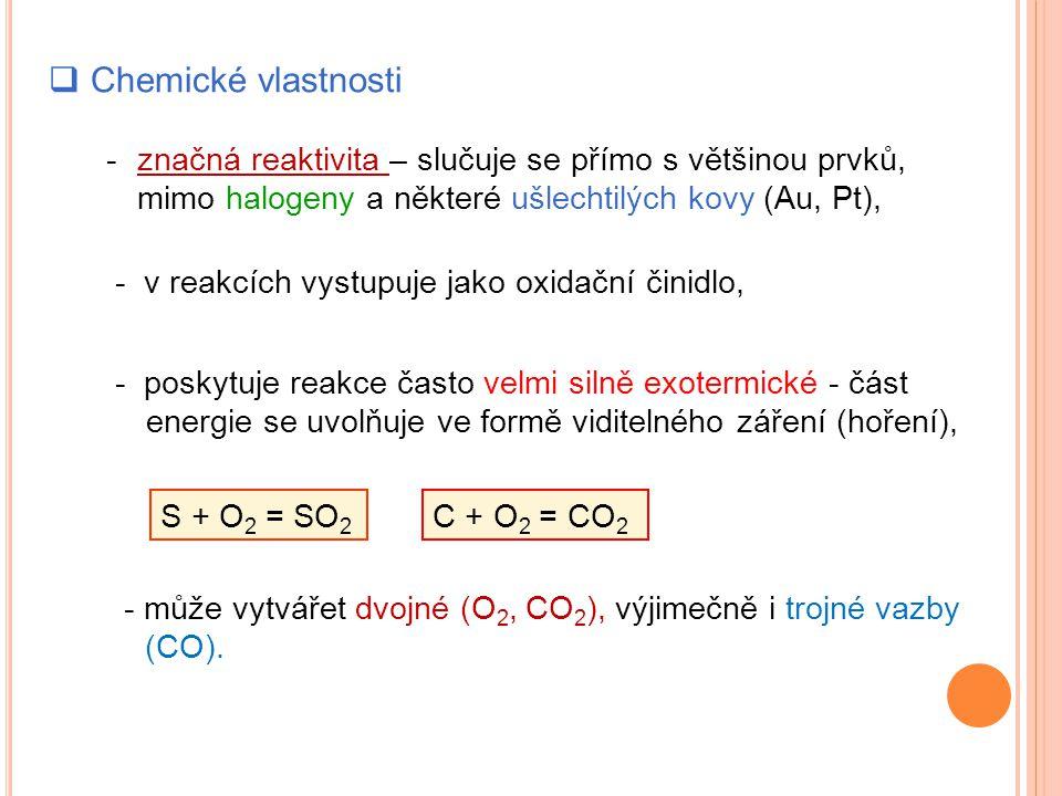 Chemické vlastnosti - značná reaktivita – slučuje se přímo s většinou prvků, mimo halogeny a některé ušlechtilých kovy (Au, Pt),