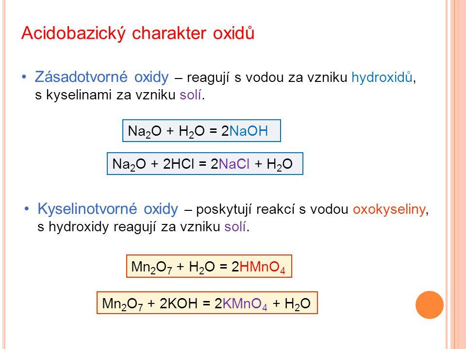 Acidobazický charakter oxidů