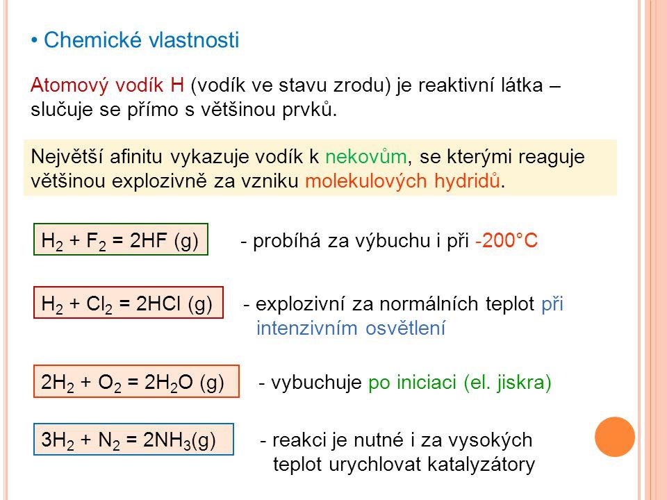 Chemické vlastnosti Atomový vodík H (vodík ve stavu zrodu) je reaktivní látka – slučuje se přímo s většinou prvků.