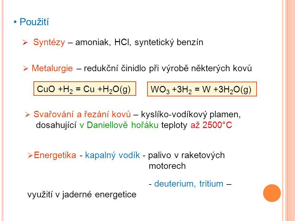 Použití Syntézy – amoniak, HCl, syntetický benzín
