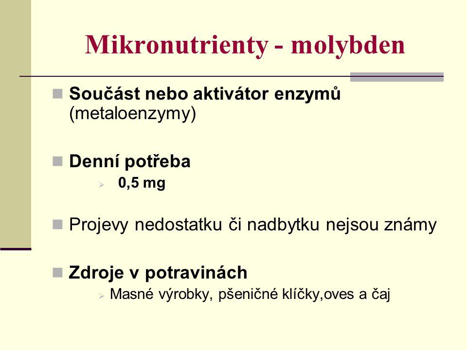 Mikronutrienty - molybden