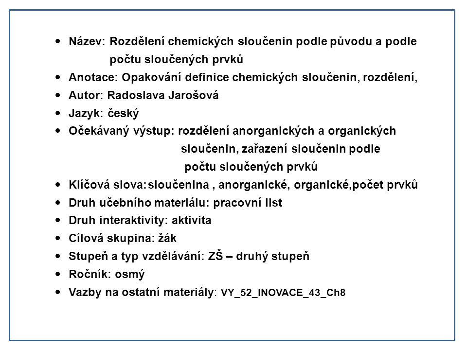 Název: Rozdělení chemických sloučenin podle původu a podle