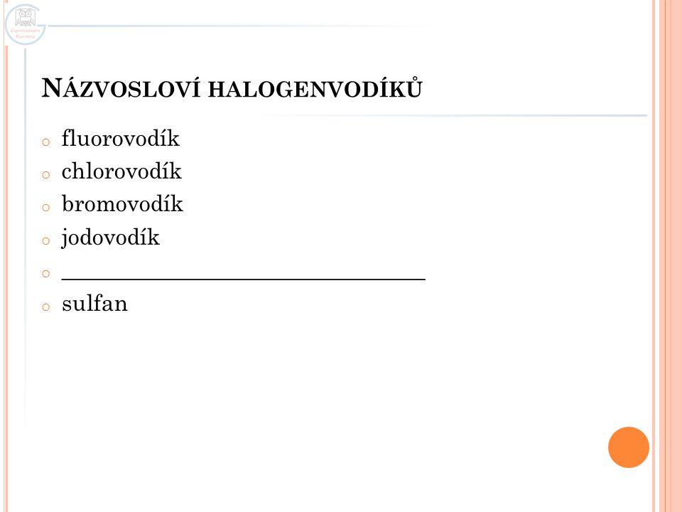 Názvosloví halogenvodíků