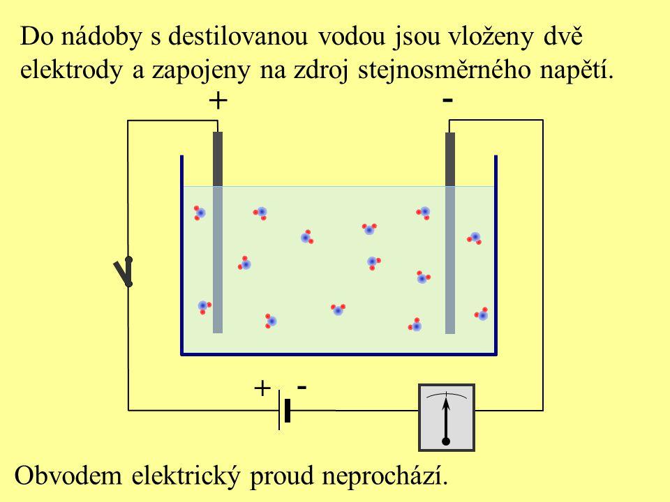 - + - + Do nádoby s destilovanou vodou jsou vloženy dvě