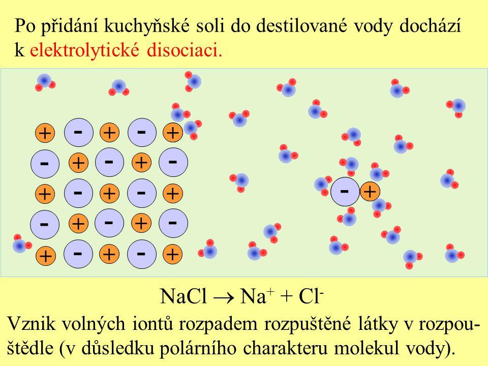 - - - - - - - - - - - - - - NaCl  Na+ + Cl- + + + + + + + + + + + + +