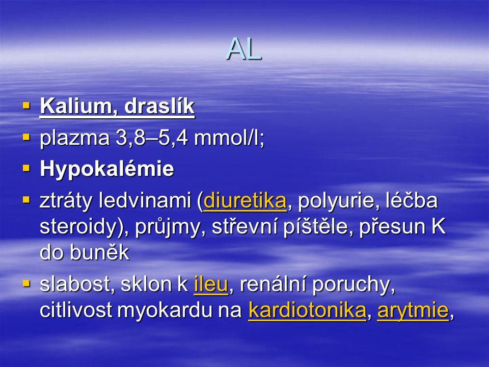 AL Kalium, draslík plazma 3,8–5,4 mmol/l; Hypokalémie