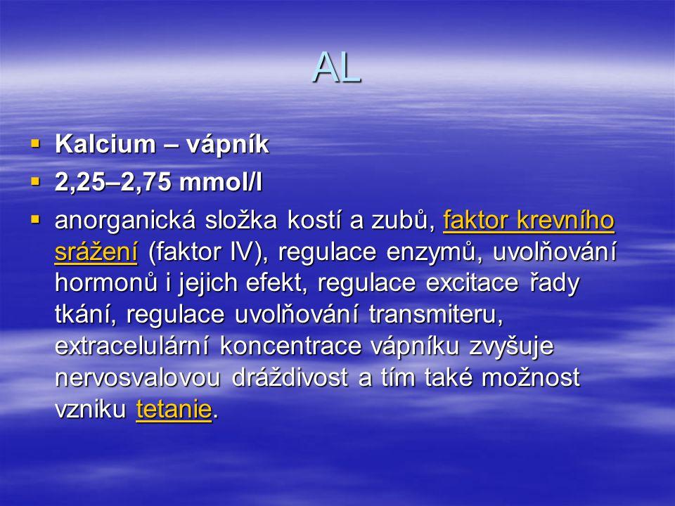 AL Kalcium – vápník 2,25–2,75 mmol/l