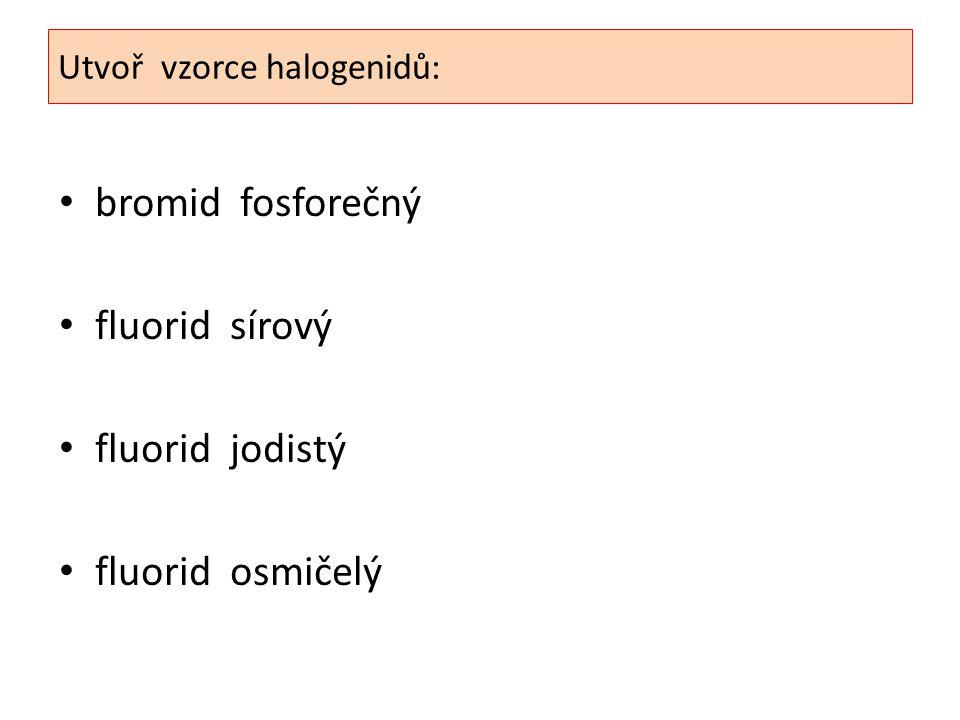 Utvoř vzorce halogenidů: