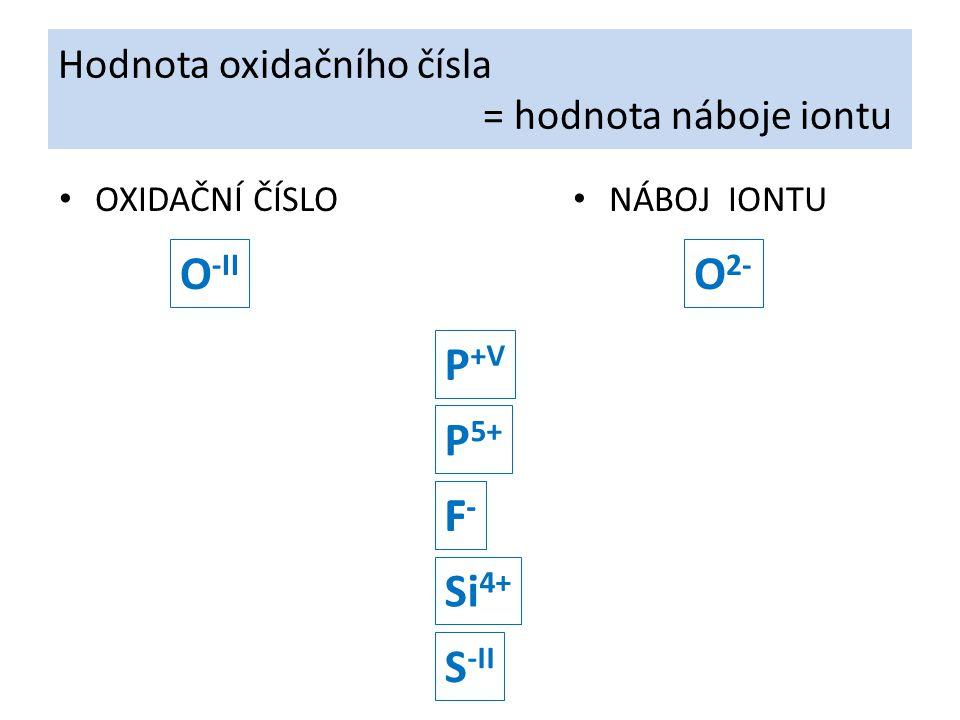 Hodnota oxidačního čísla = hodnota náboje iontu