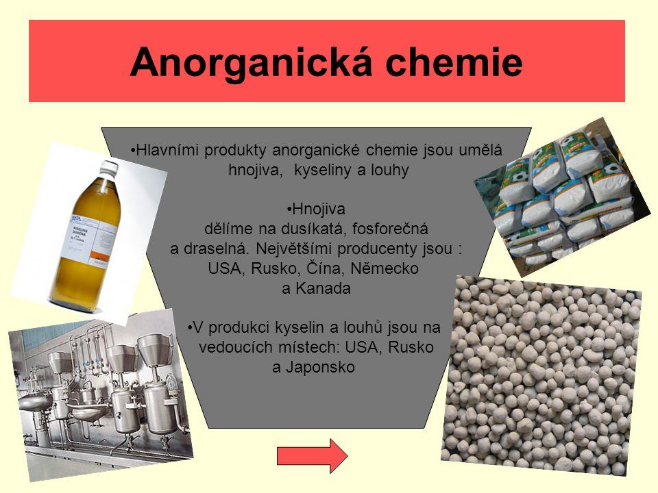 Anorganická chemie Hlavními produkty anorganické chemie jsou umělá