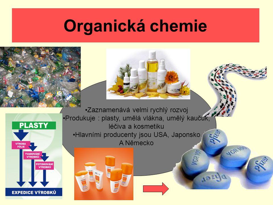 Organická chemie Zaznamenává velmi rychlý rozvoj