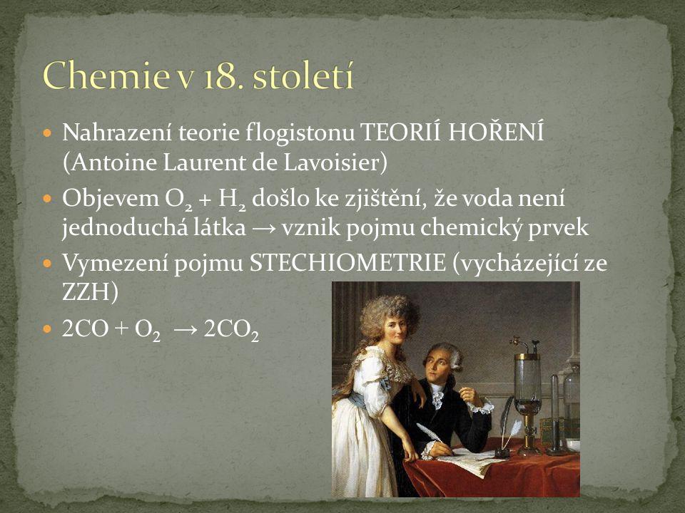 Chemie v 18. století Nahrazení teorie flogistonu TEORIÍ HOŘENÍ (Antoine Laurent de Lavoisier)