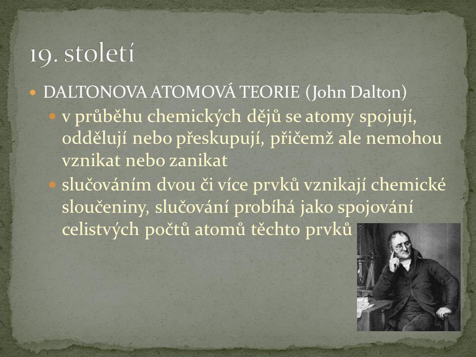 19. století DALTONOVA ATOMOVÁ TEORIE (John Dalton)