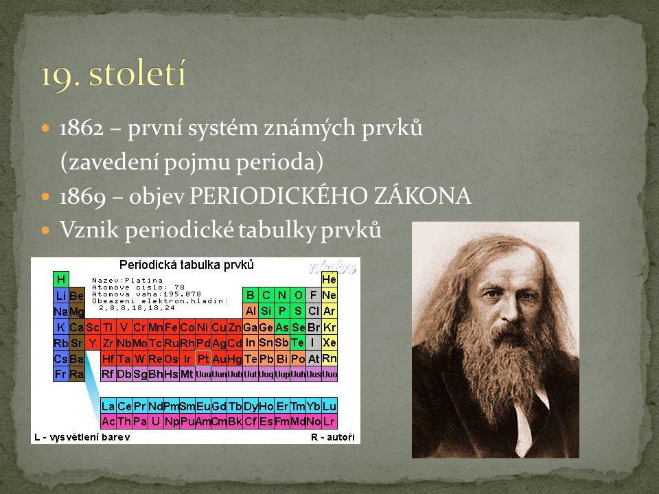 19. století 1862 – první systém známých prvků (zavedení pojmu perioda)
