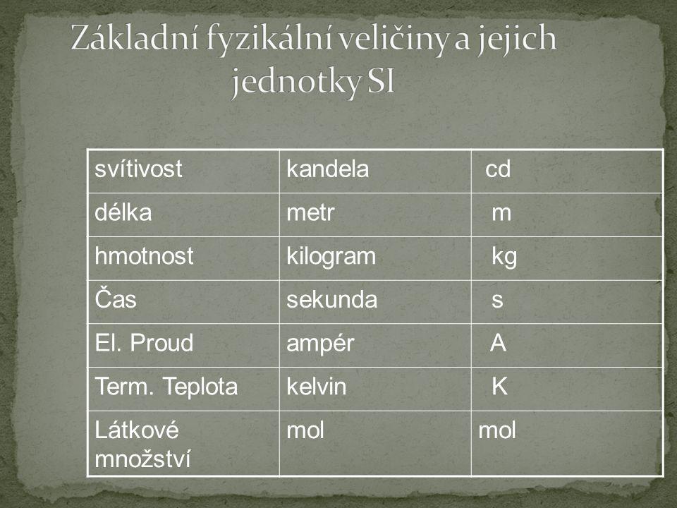 Základní fyzikální veličiny a jejich jednotky SI