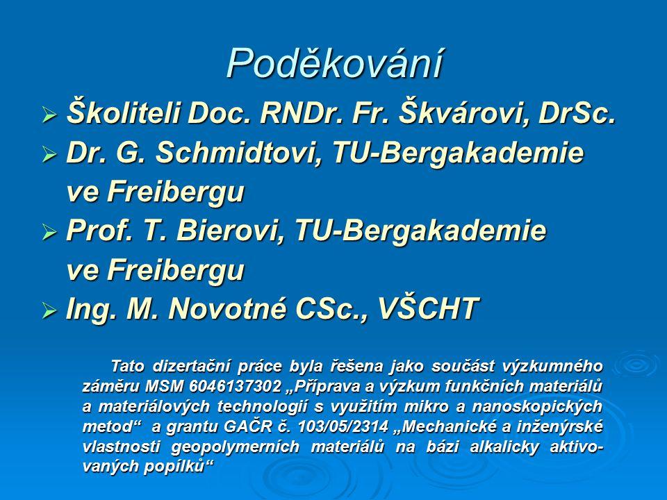 Poděkování Školiteli Doc. RNDr. Fr. Škvárovi, DrSc.