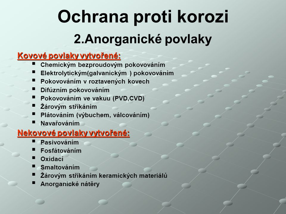 Ochrana proti korozi 2.Anorganické povlaky