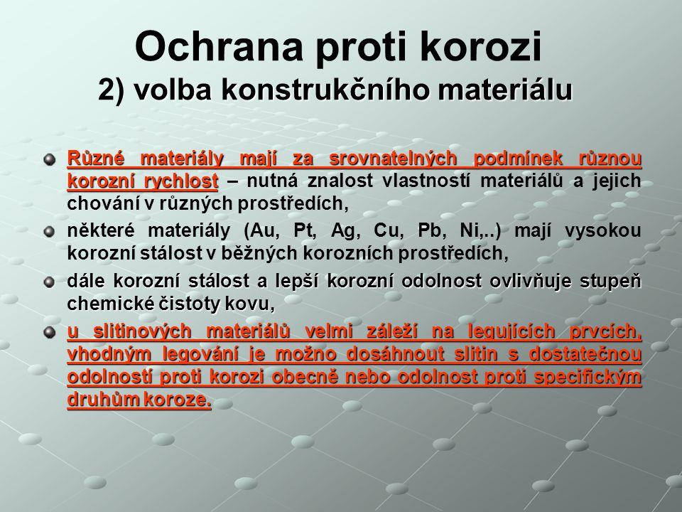 Ochrana proti korozi 2) volba konstrukčního materiálu