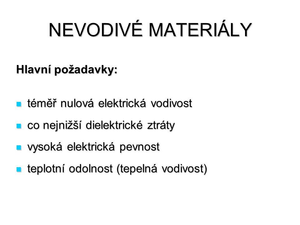 NEVODIVÉ MATERIÁLY Hlavní požadavky: téměř nulová elektrická vodivost