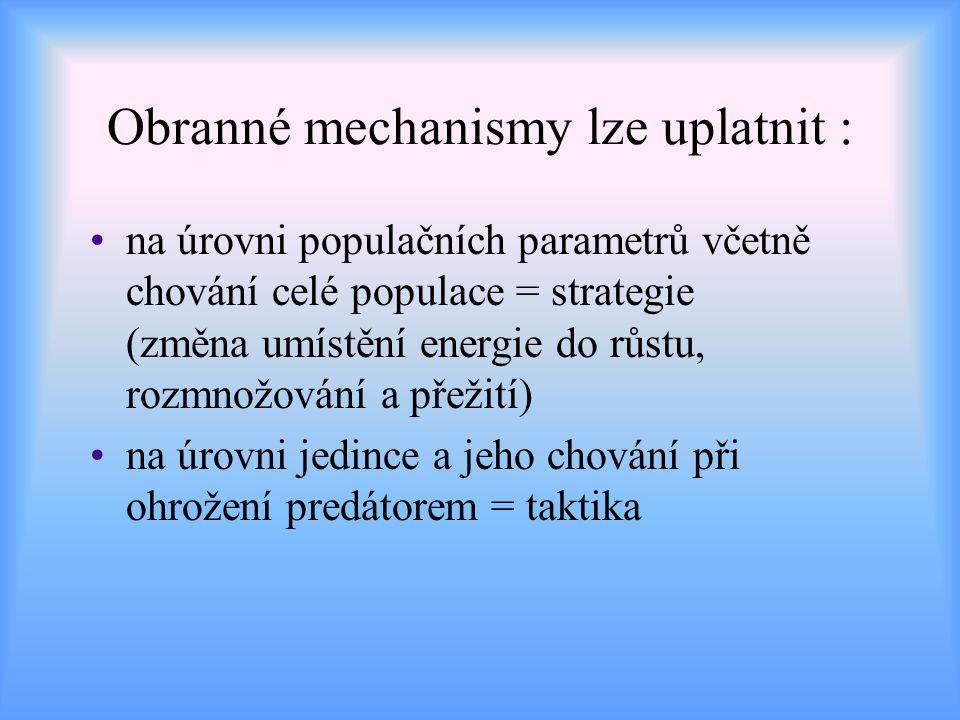 Obranné mechanismy lze uplatnit :