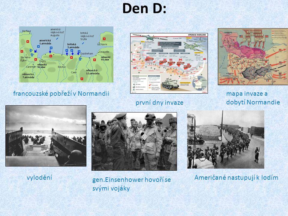 Den D: francouzské pobřeží v Normandii mapa invaze a dobytí Normandie
