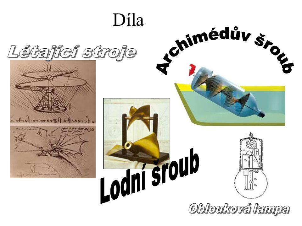 Díla Archimédův šroub Létající stroje Lodní šroub Oblouková lampa