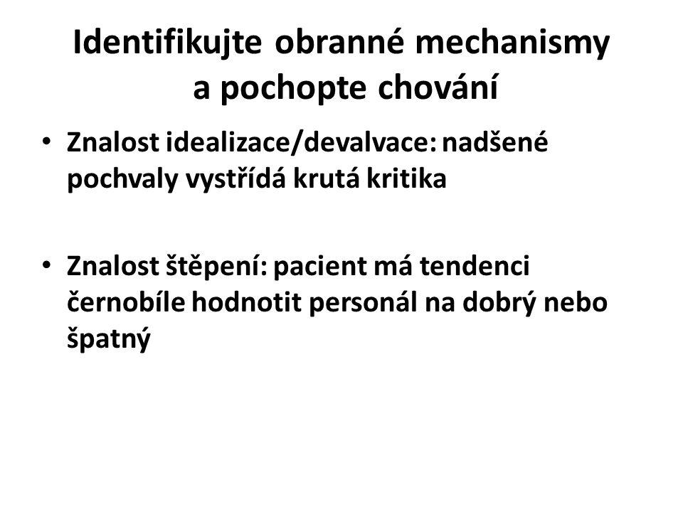 Identifikujte obranné mechanismy a pochopte chování
