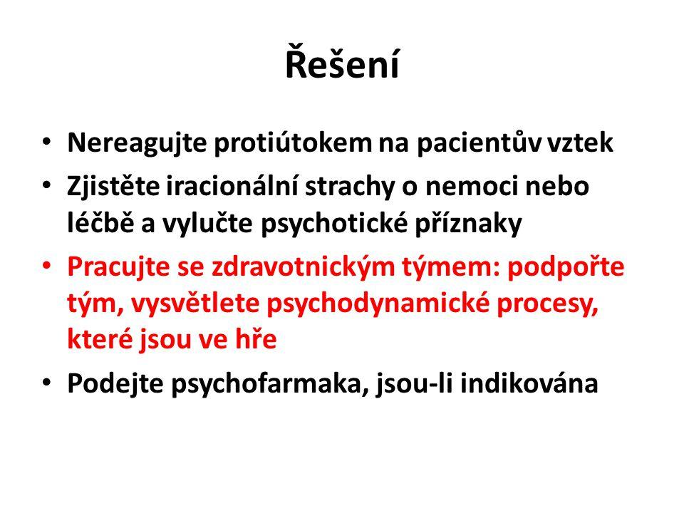 Řešení Nereagujte protiútokem na pacientův vztek