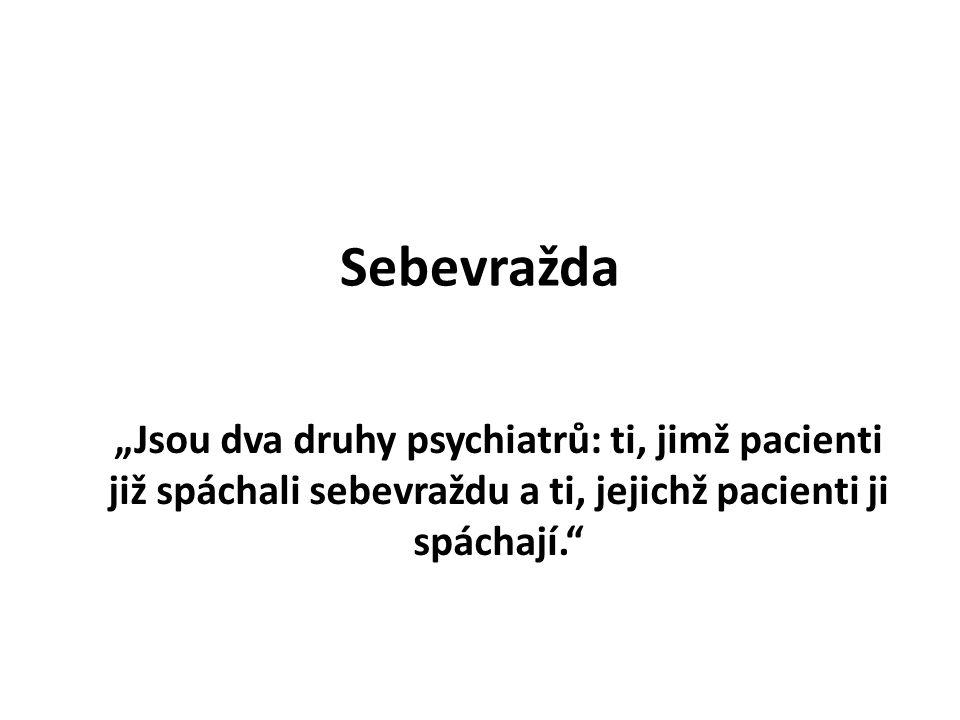 """Sebevražda """"Jsou dva druhy psychiatrů: ti, jimž pacienti již spáchali sebevraždu a ti, jejichž pacienti ji spáchají."""